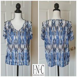 INC embellished cold shoulder blouse sz L